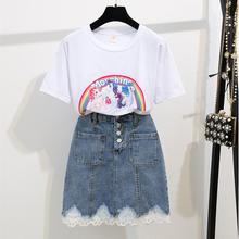 New Female Denim t-shirt Two Pieces Sets 2019 Summer Rainbow Short Sleeve Skirt Set women Round Collar Tops And Lace skirt Suits стоимость