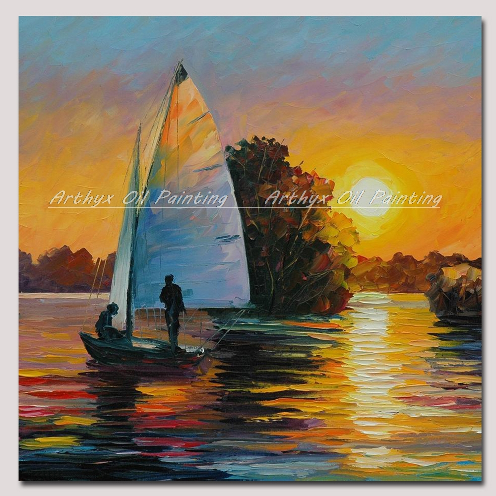 Hand Painted Wall Art Palette <font><b>Knife</b></font> <font><b>Boat</b></font> Landscape Oil Paintings On Canvas Modern Abstract Picture For Room Home Decoration Gift image