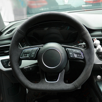 Black Alcantara Hand sewing Car Steering Wheel Cover for Audi A3 S3 2016 2017 A4 2016 2017 A5 S5 2017