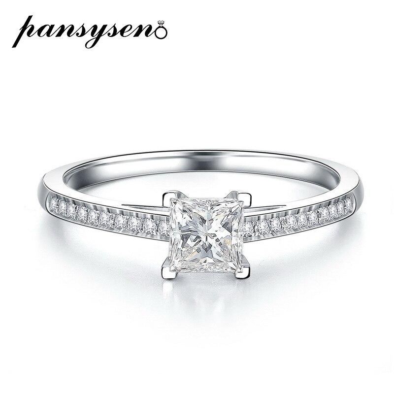 PANSYSEN-bague classique en diamant de laboratoire 6MM, bague de fiançailles en argent Sterling 925 pour femmes, cadeau de la saint-valentin