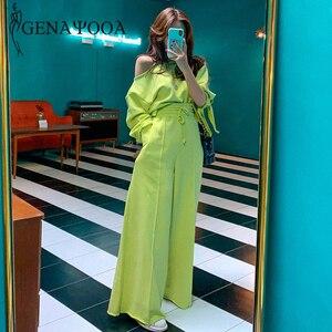 Image 4 - Женский спортивный костюм genayoa, повседневный Весенний костюм из 2 предметов, комплект из двух предметов в Корейском стиле, топ и штаны, топы с открытыми плечами, костюмы 2020