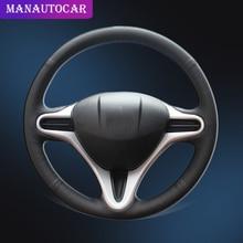 Trenza en la cubierta del volante para Honda Fit 2009 2013 City Jazz Insight 2010 2014 DIY Auto Wheel Cover accesorios interiores