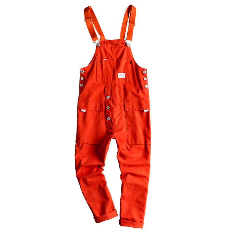 Europe, Japan and Korea street style jumpsuit men's casual retro overalls trend overalls