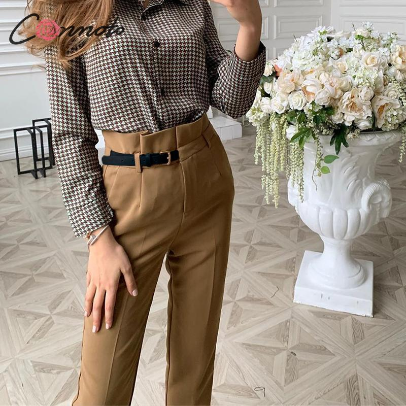 Conmoto High Waist Pencil Bottoms Pants Women 2019 Autumn Winter Female Casual Belt Patchwork Long Pants Blazer Femme Trouser
