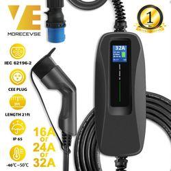 نوع 2 شاحن سيارات كهربائية المستوى 2 32 أمبير شاحن مركبة كهربية المحمولة ، CEE التوصيل 220 فولت-240 فولت سيارة كابل شحن ، IEC 62196-2
