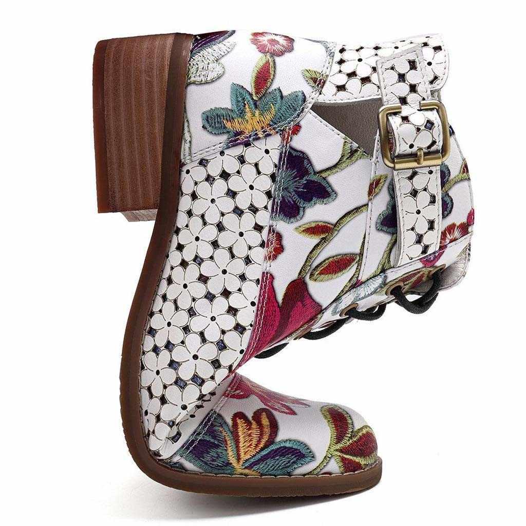 SAGACE รองเท้าผู้หญิงรองเท้าบูทฤดูหนาวรองเท้าผู้หญิงฤดูหนาวรองเท้าบูท Leisure ดอกไม้รูปแบบวัวรองเท้าหนังรองเท้าสำหรับสตรี