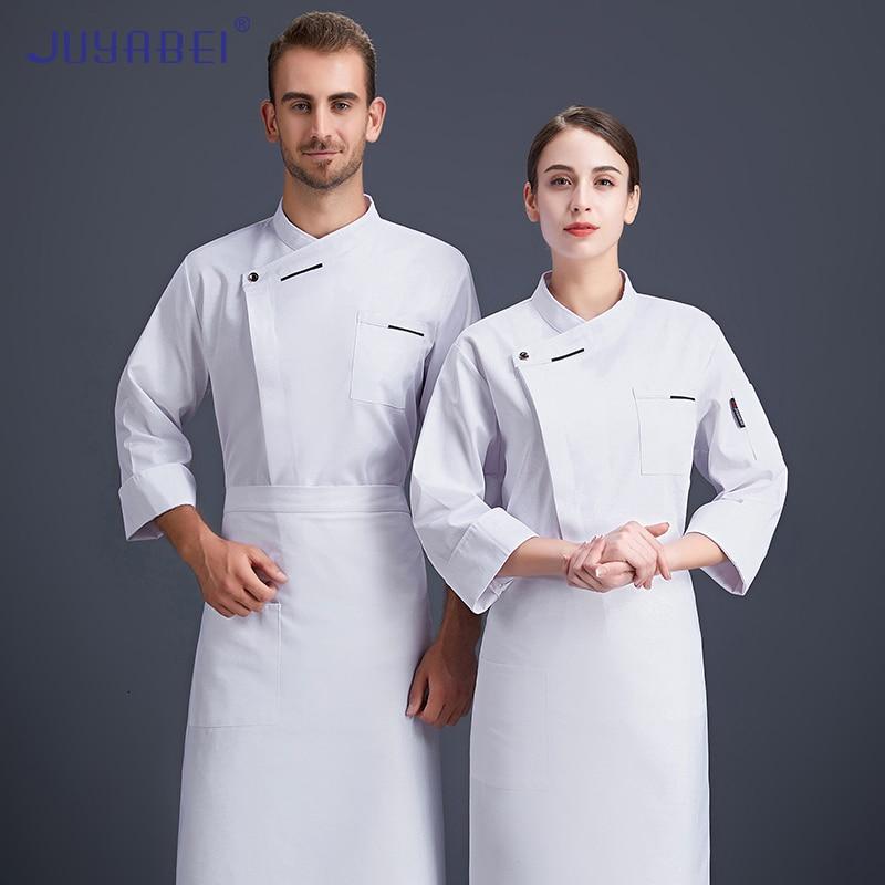 Косой воротник с длинным рукавом шеф-повара Униформа унисекс кулинарная куртка Отель Ресторан Кафе пекарня Парикмахерская бар официант