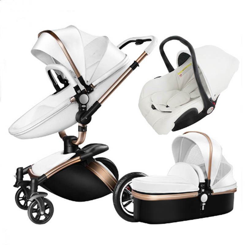 3 In 1 Baby Stroller Leather Two-way High Landscape Stroller 360 Degree Turn Can Sit Foldable Shock Absorber Bb Car