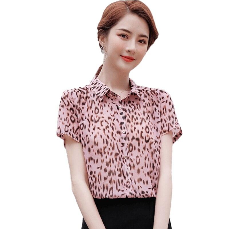 Женская рубашка с леопардовым принтом, необычный дизайн с коротким рукавом, Новинка весна-лето 2021, высококачественные женские топы в западн...