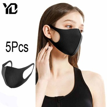 5Pcs Washable Face Mask Cycling Anti Dust Mask Warmer Mouth Face Mask Pollution Windproof Mouth-muffle Black Mask