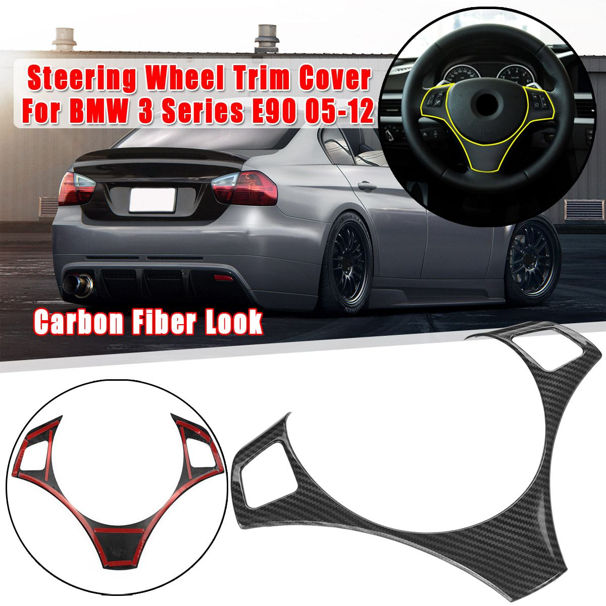 Carbon Fiber Style Car Interior Steering Wheel Decoration Strip Frame Cover Trim Sticker For BMW 3 Series E90 E92 E93 2005-2012