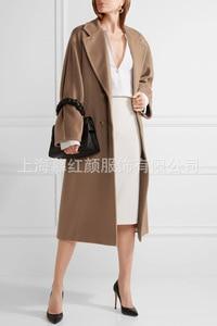 Image 2 - Double Breasted Elegante Longo Casaco De Lã Mistura Casaco de Lã Sólida Fino e Jaqueta Do Vintage Longo Das Mulheres Casacos de Inverno Outono