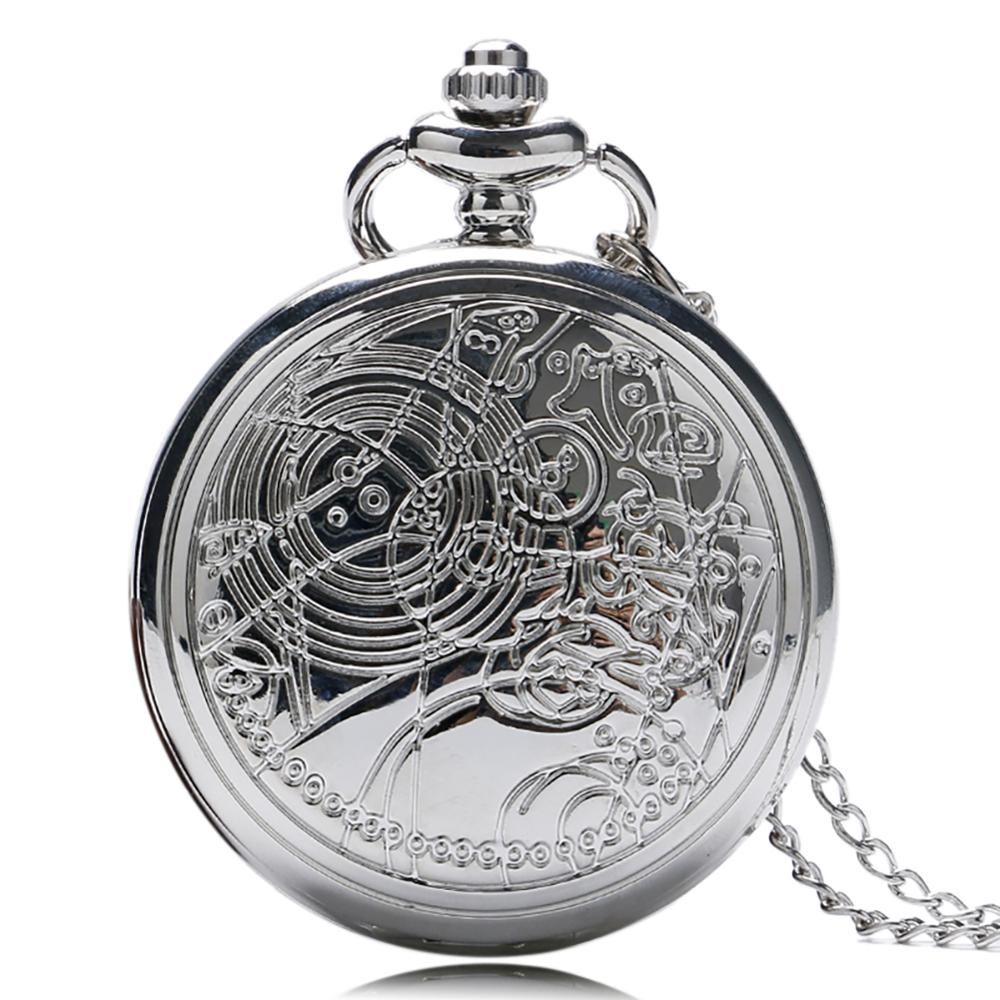 Hot Sale Silver Doctor Who Theme Quartz Pocket Watch Retro Fob Watch With Chain Necklace For Gift For Reloj De Mujer