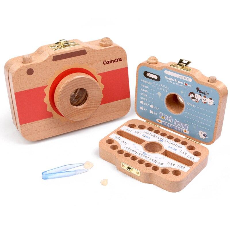 Wooden Baby Tooth Box English Camera Teeth Box Wood Souvenir Case Tools Baby Milk Teeth Organizer Storage Kids Tooth Box Wooden