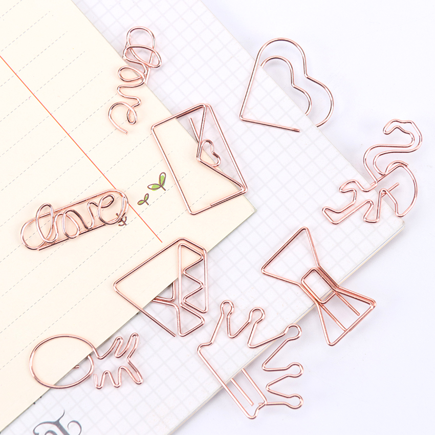 5 PCS Kawaii Pineapple Bookmark Metal Plating Rose Gold Alphabet LOVE Molding Paper Clip Stationery School Office Supplies