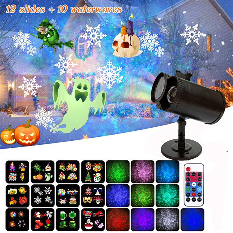 12W Christmas Projector Lights 2019 Newest Version 12 Patterns Waterproof Decorations Indoor LED White Moving Light Snowflake