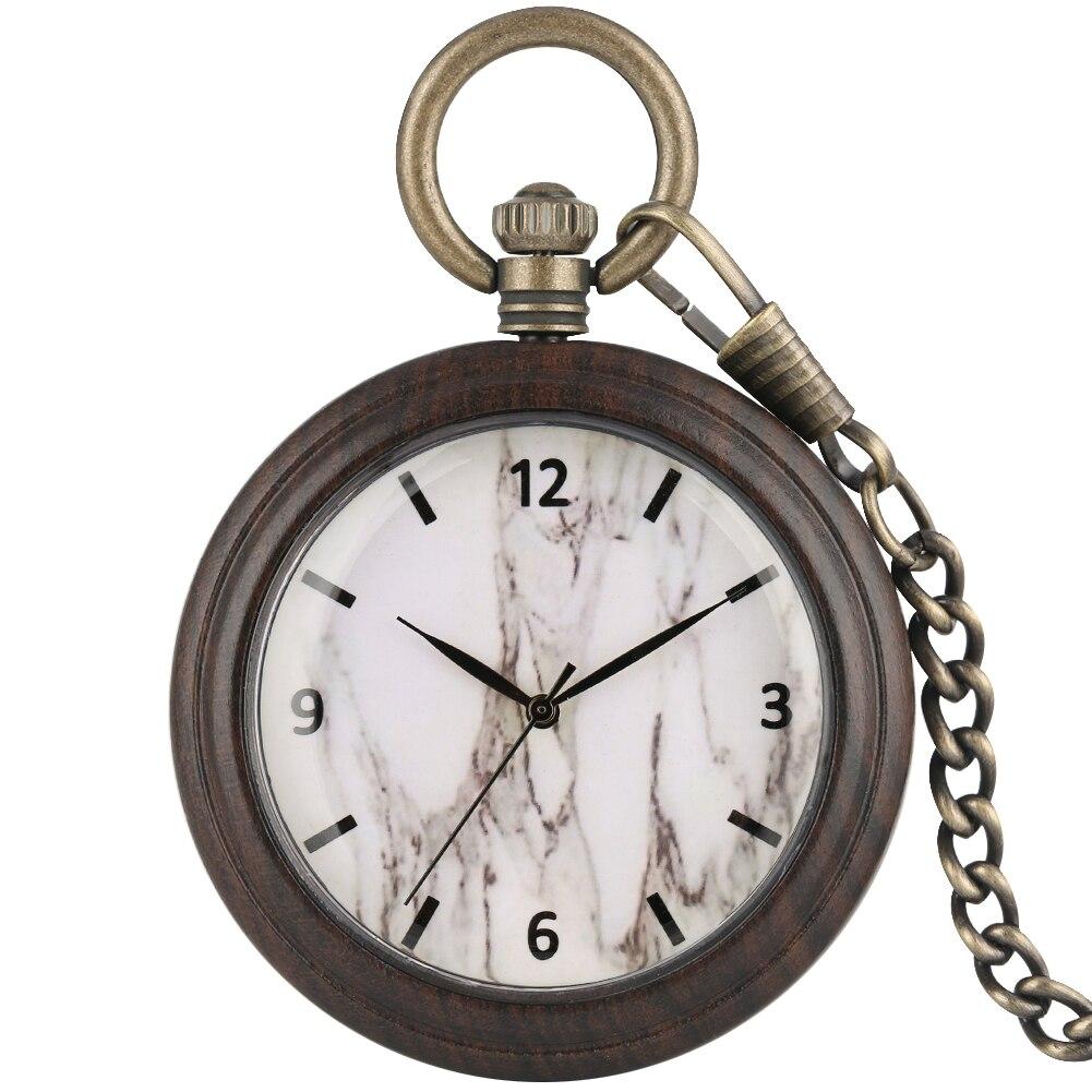 White Marble Dial Ebony Pocket Watch For Men Precious Bronze Rough Chain Clock Pendant Watches Necklace Orologio Da Taschino