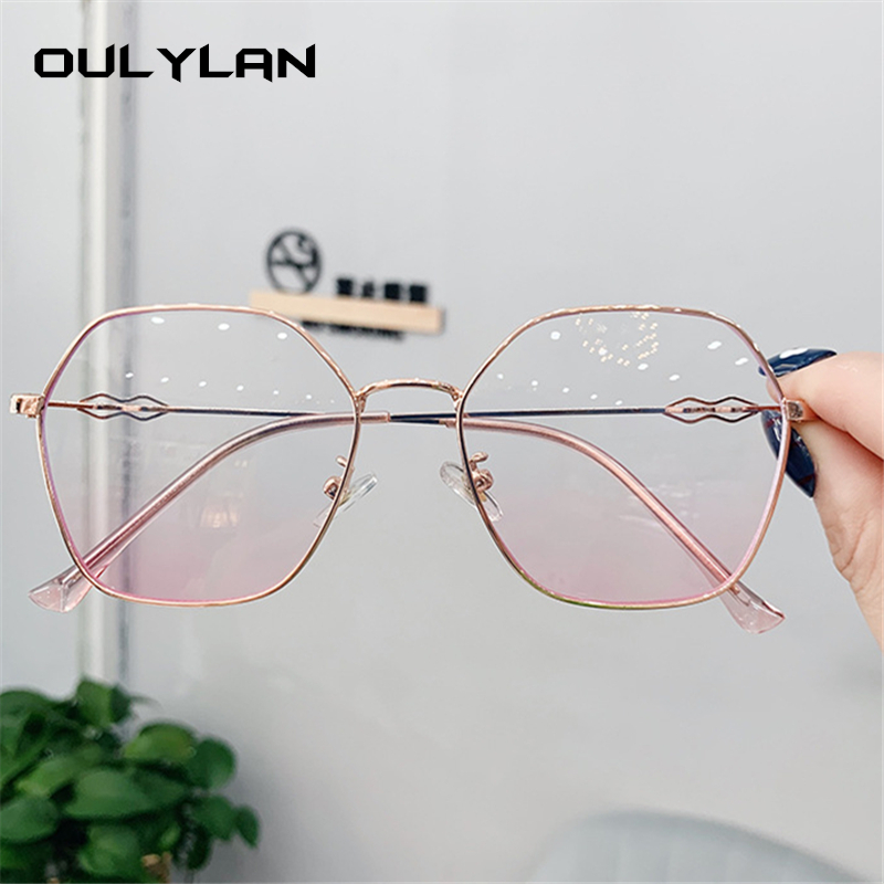 Oulylan Polygon Glasses Frames Women Transparent Myopia Optical Eyeglasses Ladies Retro Metal Eyewear Clear Lens Spectacles