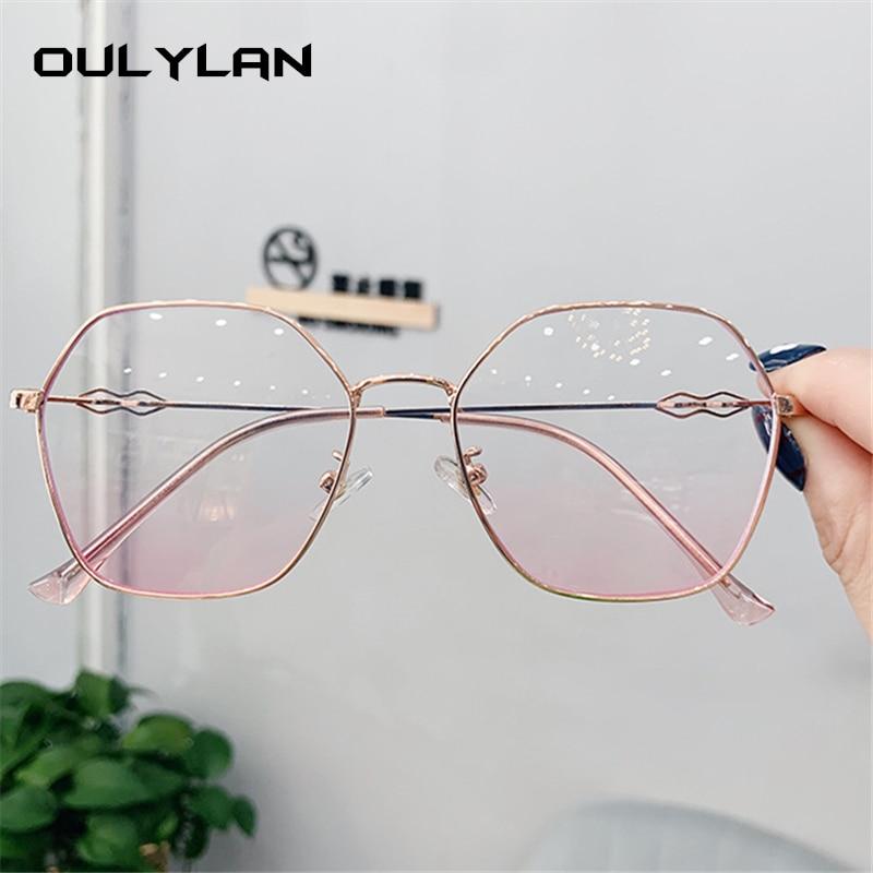 Oulylan Polygon Glasses Frames Women Transparent Myopia Optical Eyeglasses Ladies Retro Metal Eyewear Clear Lens Spectacles