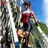 Kafitt pro equipe triathlon conjunto camisa de ciclismo feminino uma peça macacão manga curta macaquinho conjunto feminino gel almofada 18