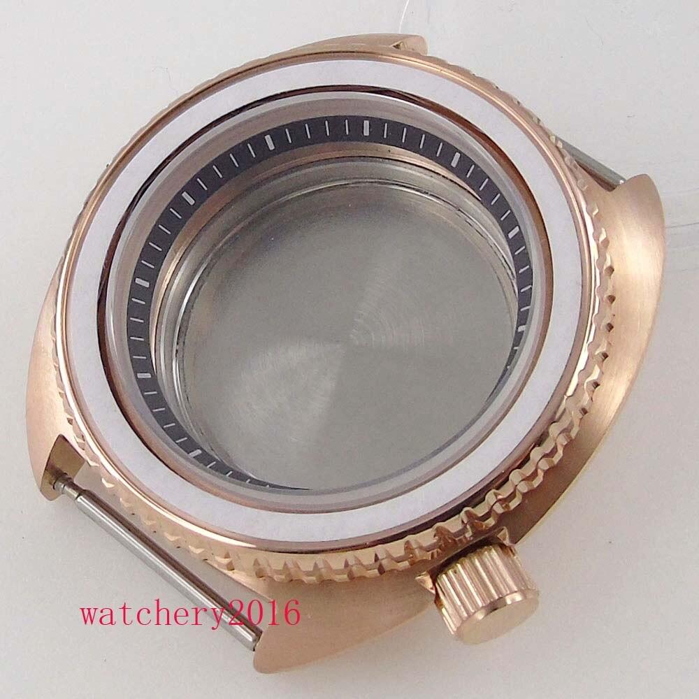 45mm bliger rosa ouro aço caso vidro