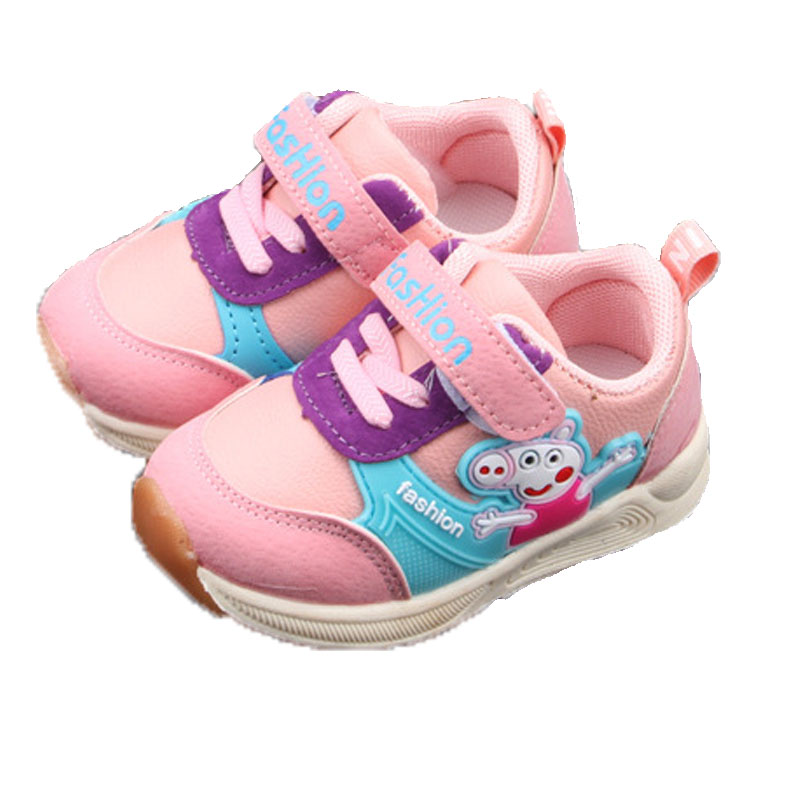 Peppa Shoes Girl Kids Sneakers Baby Infant Toddler Shoes Boy Uniesx Children Cartoon Shoes Waterproof Casual Pu Leather Shoes