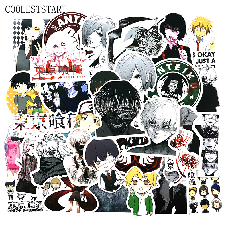50pcs Tokyo Ghoul Graffiti Stickers Japanese Anime For Luggage Laptop Skateboard Bicycle Backpack Decal Pegatinas Toy Stickers