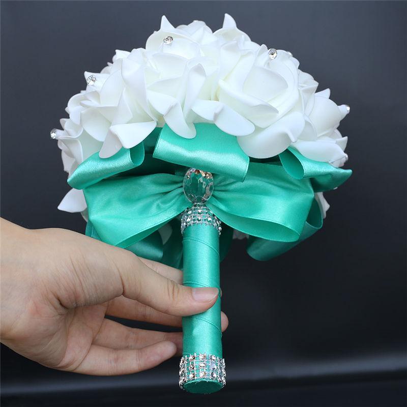 IN STOCK Cheapest PE Rose Bridesmaid Wedding Foam flowers Rose Bridal bouquet Ribbon Fake Wedding bouquet de noiva 14 Color 5