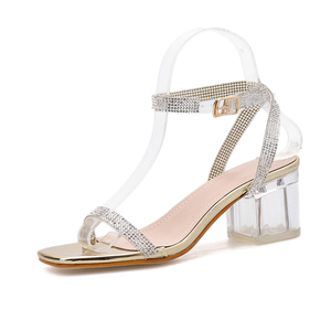 Image 2 - Kcenid Elegant rhinestone sandals women transparent bling crystal shoes ankle buckle strap dress shoes woman clear heel sandals