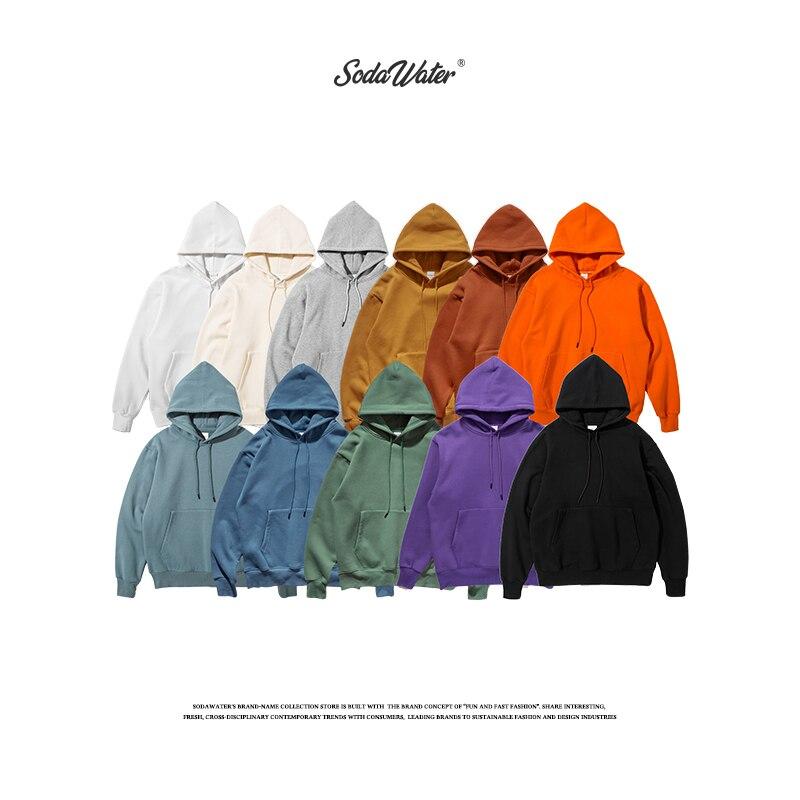 SODAWATER Men Hoodies Japan Street Style 11 Colors Pure Hooded Sweatshirt 2019 Pullover Thick Oversize Hoodie Tops 167W17