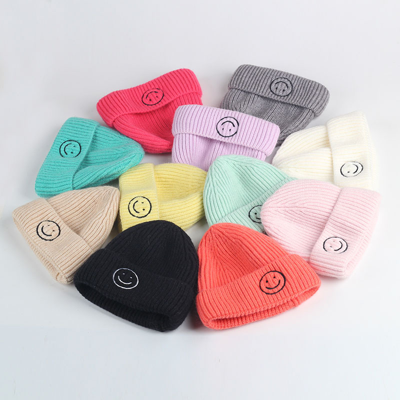 Зимняя Вязаная Шапка-бини с вышивкой улыбка для мальчиков и девочек, вязаные детские шапки крючком, Детские аксессуары