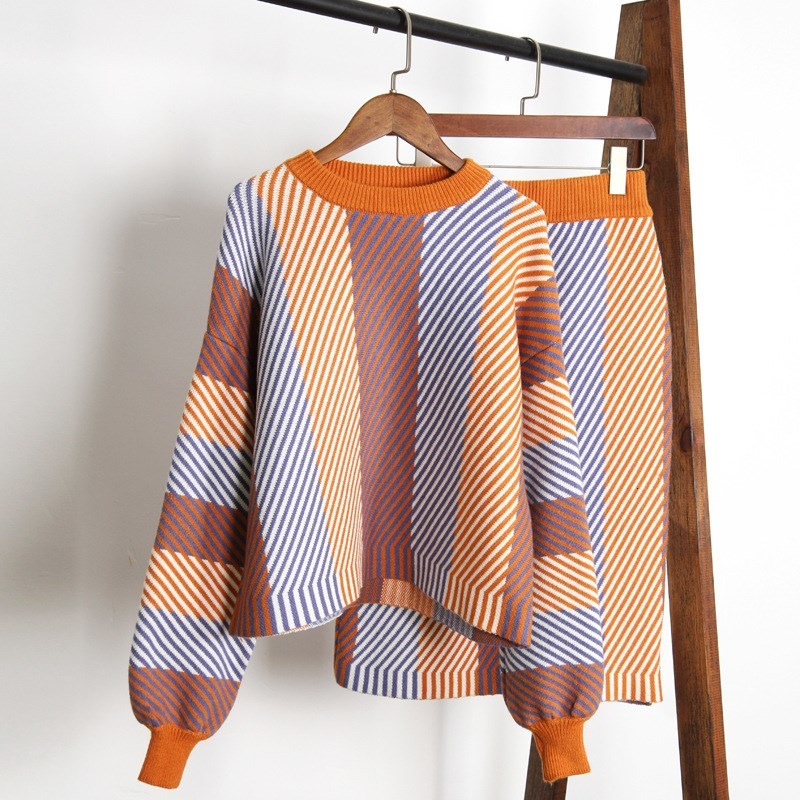 Fashion Women Skirt Sets Autumn Lantern Sleeve Colorful Striped Sweater Skirt Suits Female Knitted Sets Outfits