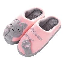 Slippers Cartoon Floor-Shoes Couples Warm House Bedroom Soft Winter Lovers Women No Indoor