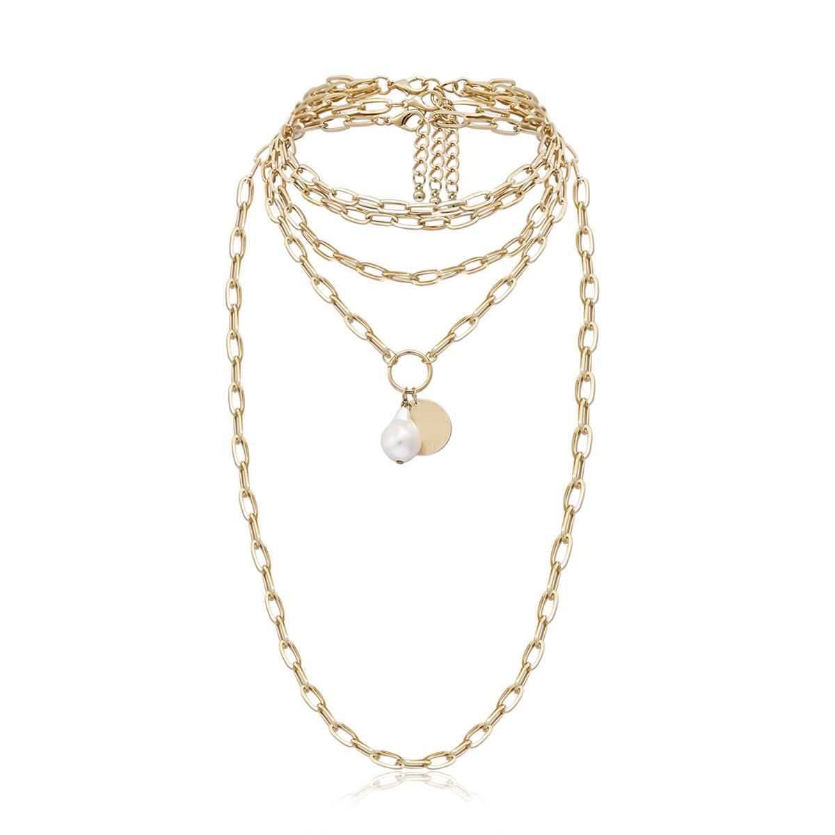 Imitation Pearl Pendant Necklaces for Women Gold Color Multilayer Chain Choker Layered Necklace Female 2020 Fashion Jewelry