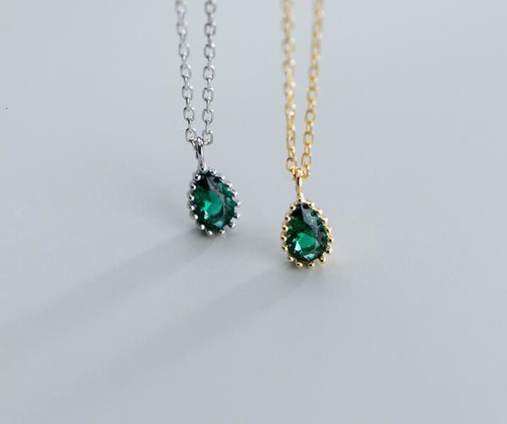 100% 5mm*10mm real Sterling Silver 925 Fine Jewelry Green emerald cz AAA+ Tears waterdrop Pendant Necklace GTLX1935