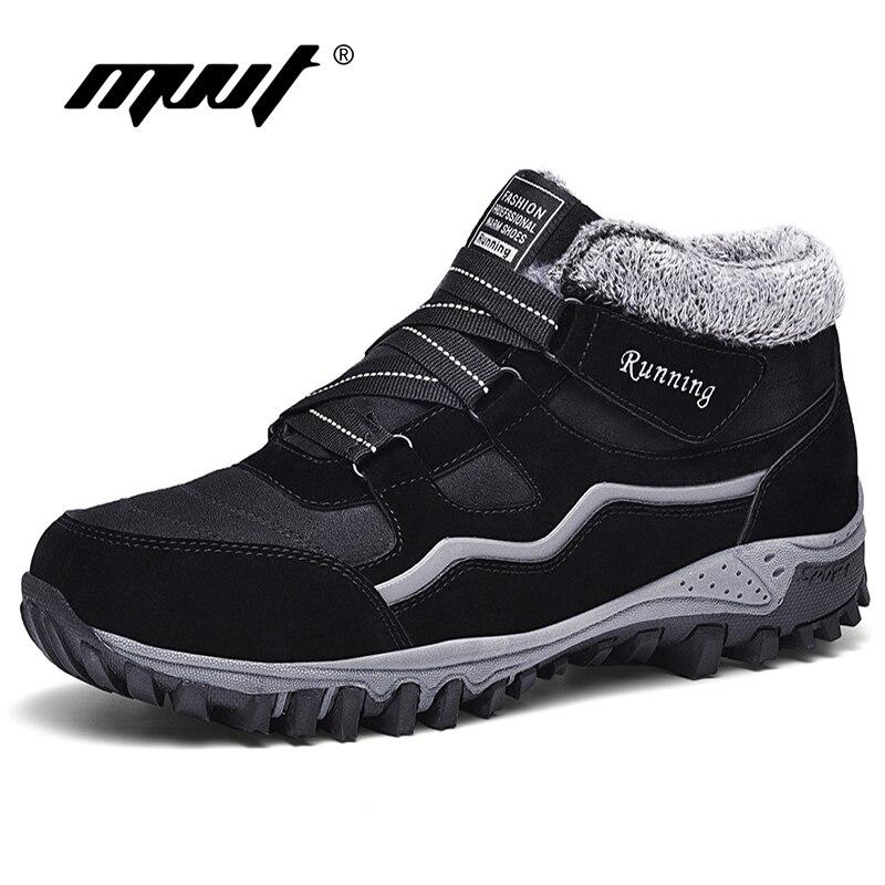 New Arrival Fashion Suede Leather Men Snow Boots Winter Warm Plush Boots Men Couple Waterproof Ankle Boots Flat Shoes Plus Size