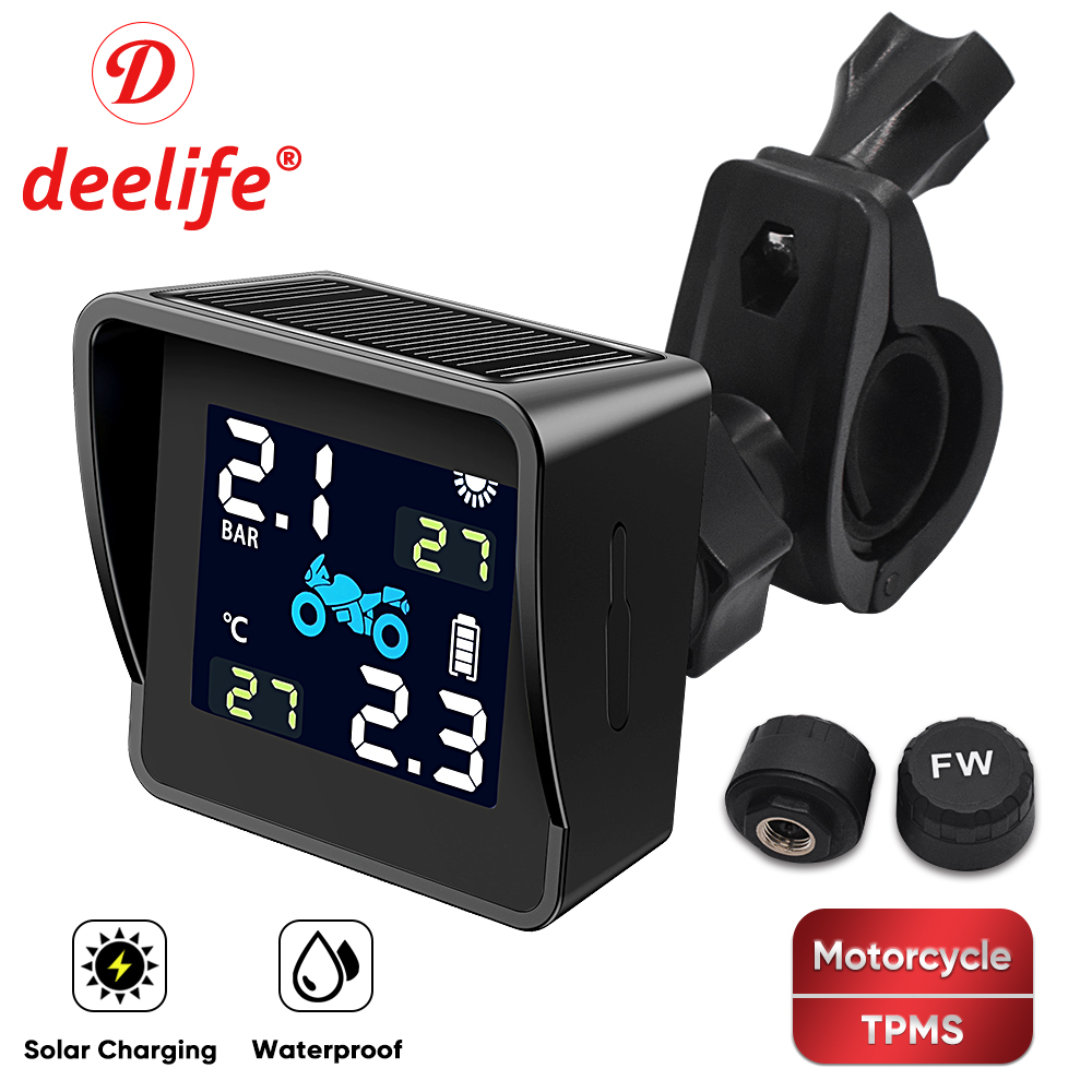 Deelife TPMS Motorcycle Tire Pressure Monitoring System Waterproof Solar Motorbike Monitor External Pressure Sensor For Moto