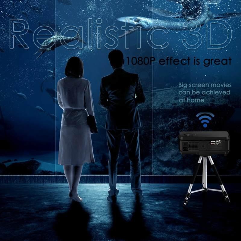 Android projektor Full HD 3000 lumenów 1920*1080P LED 3D wideo Beamer HDMI 4K 1G + 8G bezprzewodowy Wifi Bluetooth kino domowe