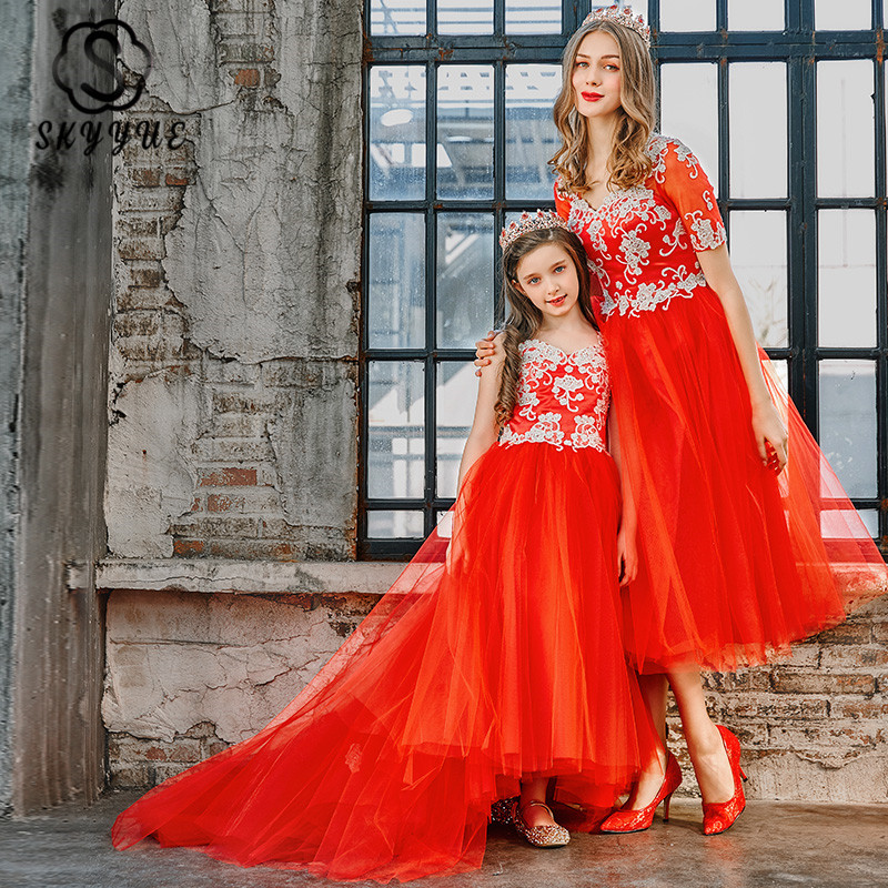 Skyyue Parent-child Evening Gowns FB134 Appliques A-Line Party Dresses Embroidery Patchwork Robe De Soiree For Mom And Daughter