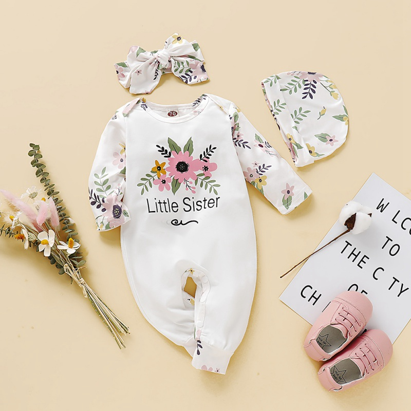 Autumn Infant Baby Girls Sets Cotton Floral Pattern Infant Long Sleeve Jumpsuit+Hat+Headband Newborn Romper Set