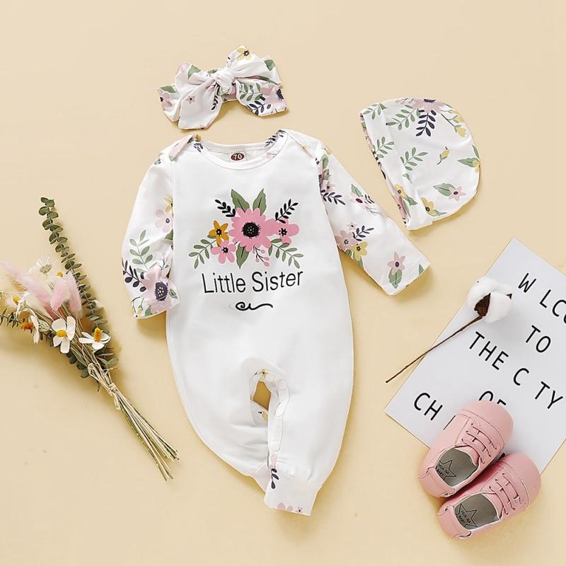 Autumn Infant Baby Girls Sets Cotton Floral Pattern Infant Long Sleeve Jumpsuit+Hat+Headband Newborn Romper Set