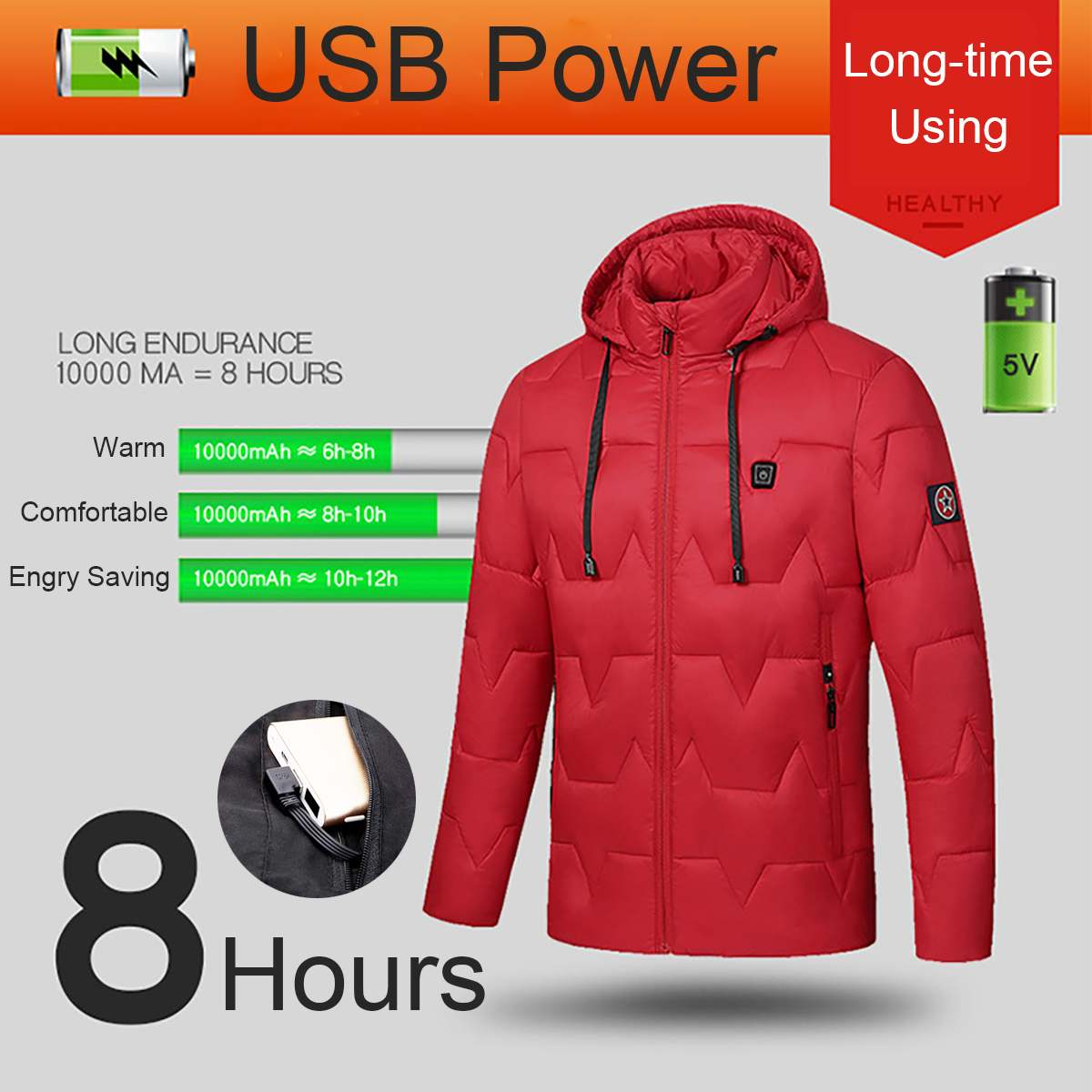 USB Electric Heated Coat Jacket 8 Hours Heating Hooded Jacket Long Sleeves Winter Warm Clothing Thermostat Hooded Waterproof