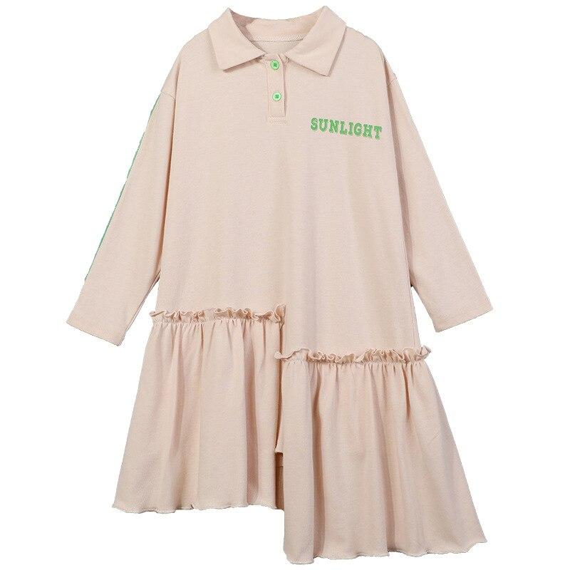 New 2020 Spring Casual Girls Dresses Kids Letter Printed Fashion Dresses for Girls Cotton Baby Girls Asymmetrical Dresses, #8500