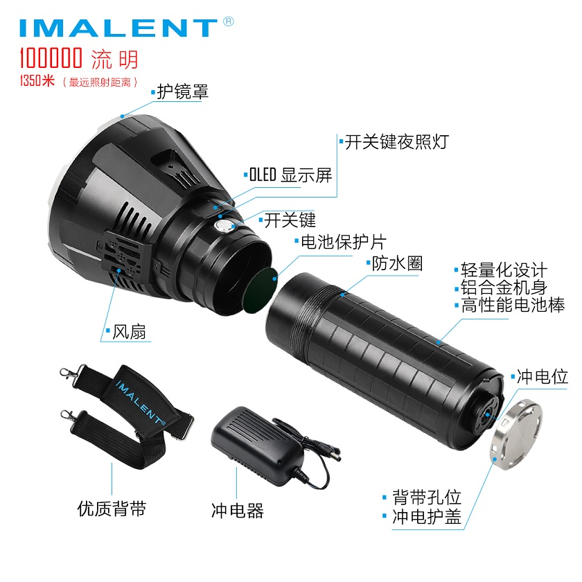 Image 4 - IMALENT MS18 LED Flashlight CREE XHP70.2 100000 LM Waterproof Flash light with 21700 Battery + OLED Display Intelligent Charging-in LED Flashlights from Lights & Lighting