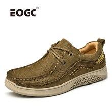 Natural Leather Men Shoes Lace-Up Breathable Soft Autumn Cas