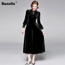 2019 Runway Dress Winter Evening Party Dresses Black Velvet Women Long Sleeve Vintage Maxi Vestido Longo Robe