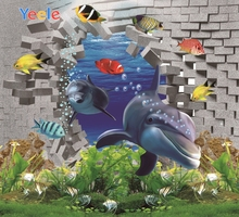 Yeele Decor Photocall Bricks Wall Dolphin Undersea Photography Backdrops Personalized Photographic Background For Photo Studio