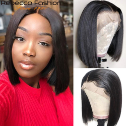 Rebecca Short Bob Lace Front Wig 13x4 Brazilian Straight Lace Front Human Hair Wig For Black Women Pre-plucked With Baby Hair
