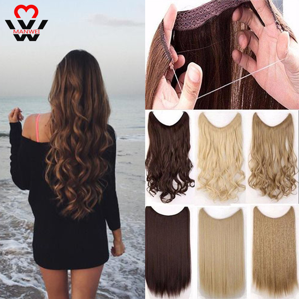 MANWEI Blonde Invisible Wire  In Hair  Fish Line Extensions Synthetic Hair Pieces For Women Real Fish Line Hair Extension