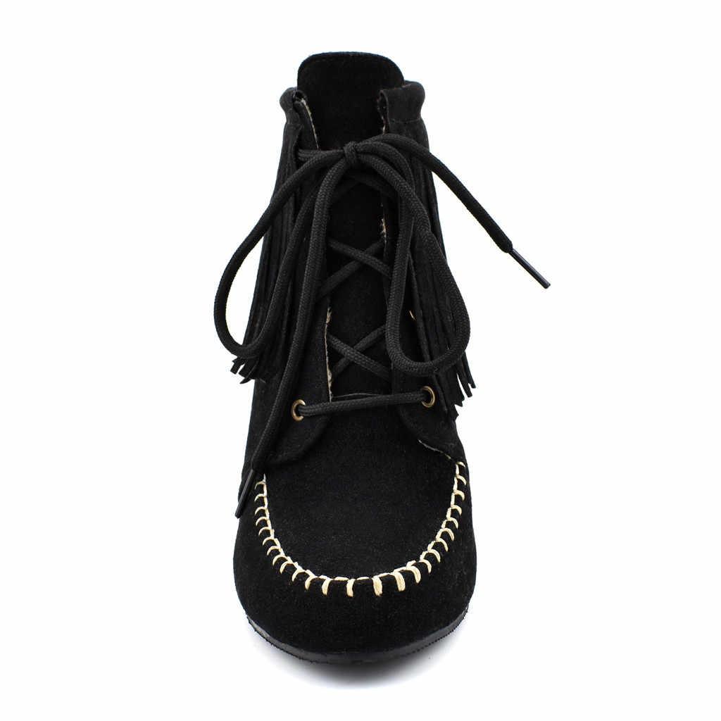 แพลตฟอร์มรองเท้าผู้หญิงรองเท้าส้นสูงรองเท้าหนังนิ่มขนาดใหญ่ Fringed สบายรองเท้า Lace-Up ข้อเท้า botas de nieve mujer 7 #3.5a1